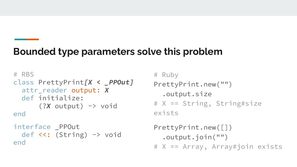Bounded type parameters solve this problem # RB...