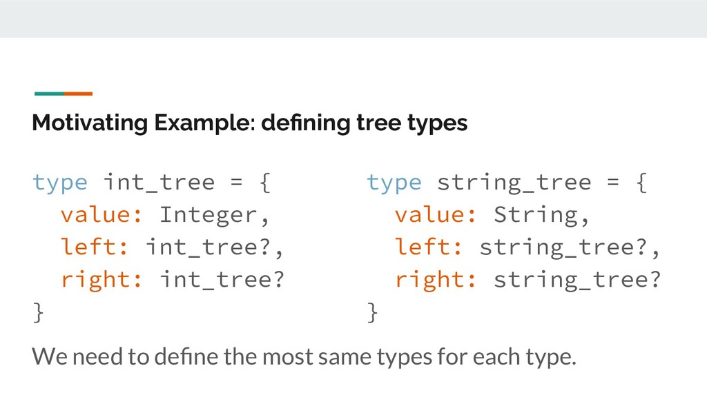 Motivating Example: defining tree types type int...