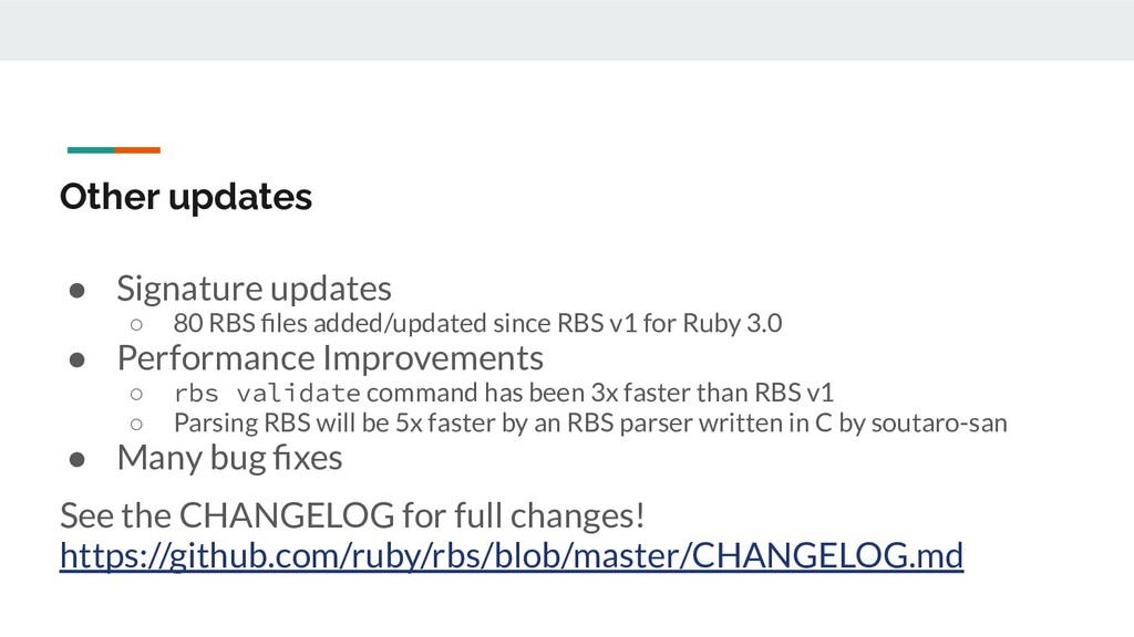 Other updates ● Signature updates ○ 80 RBS files...