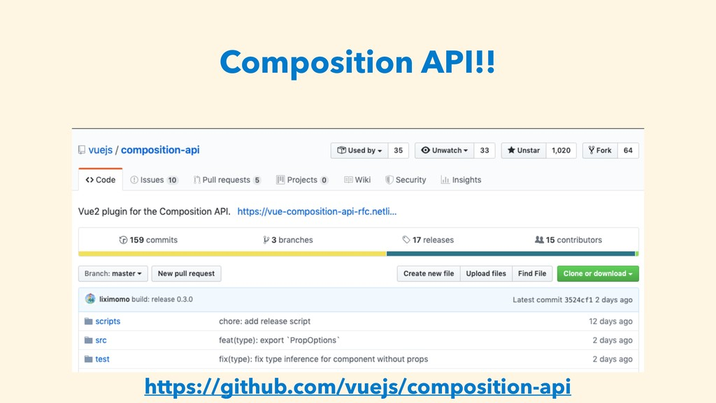 Composition API!! https://github.com/vuejs/comp...