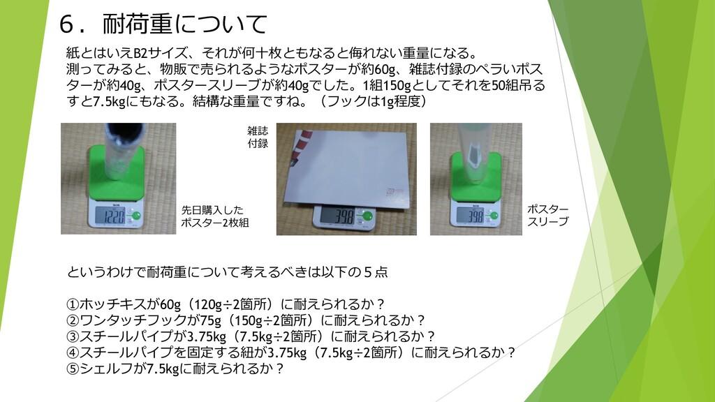 6.耐荷重について 紙とはいえB2サイズ、それが何十枚ともなると侮れない重量になる。 測ってみ...
