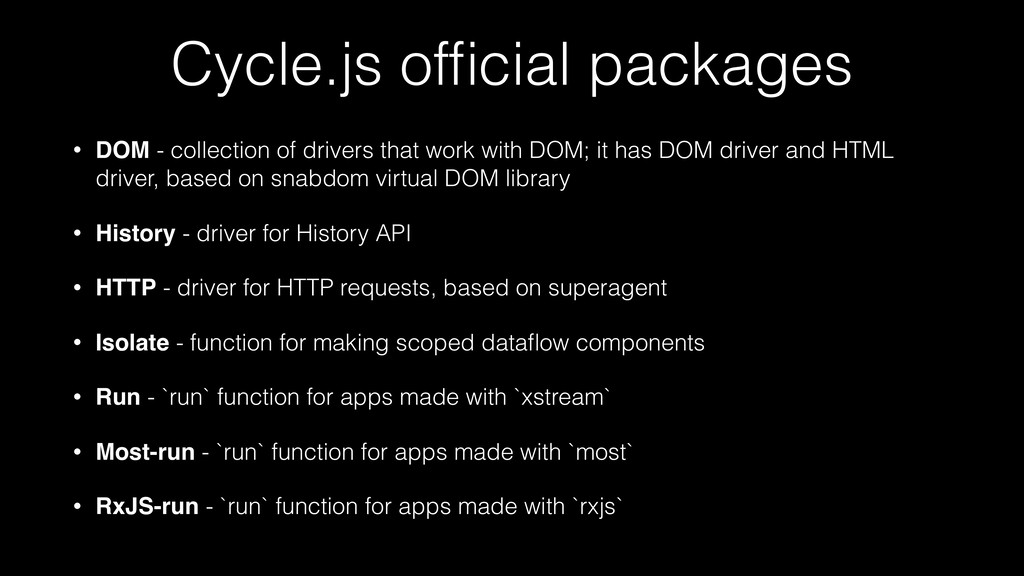 Cycle.js official packages • DOM - collection of...