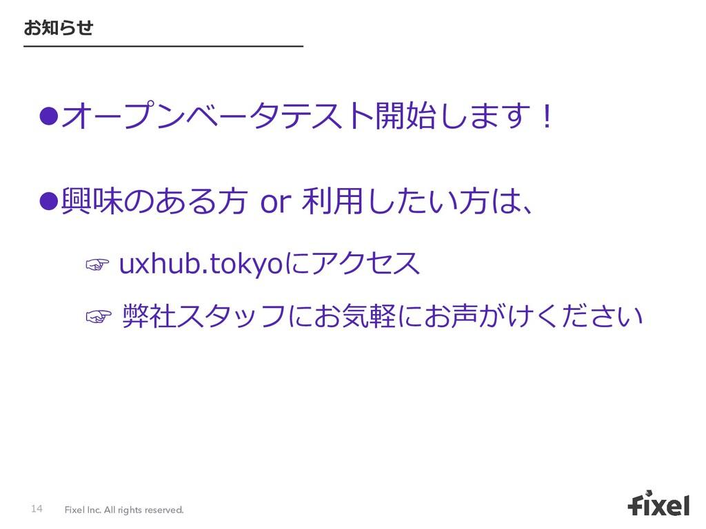 Fixel Inc. All rights reserved. お知らせ lオープンベータテス...