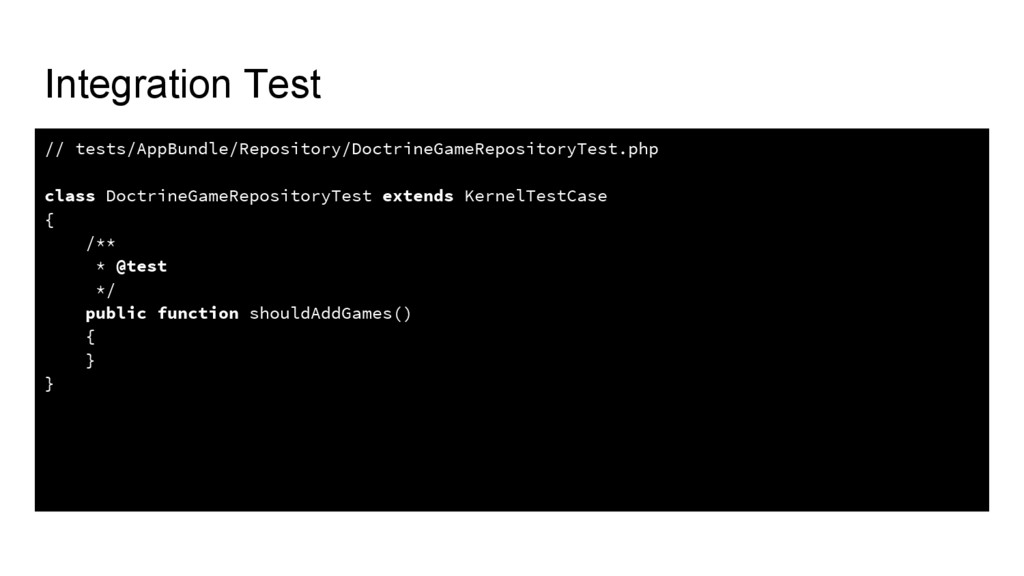 Integration Test // tests/AppBundle/Repository/...