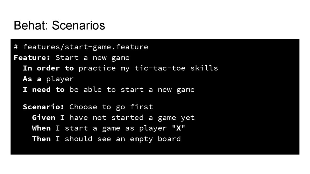 Behat: Scenarios # features/start-game.feature ...
