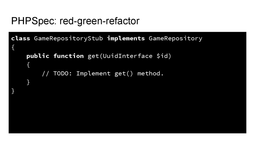 PHPSpec: red-green-refactor class GameRepositor...
