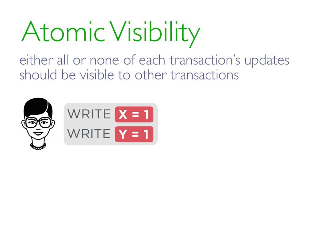 Atomic Visibility X = 1 WRITE Y = 1 WRITE eithe...