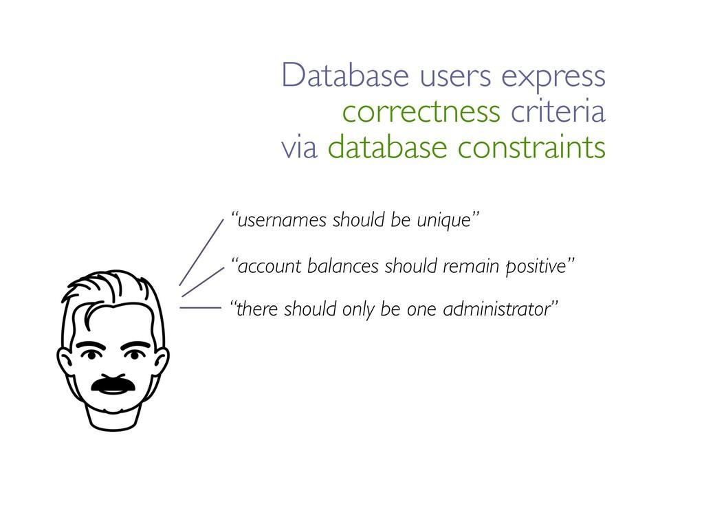 """usernames should be unique"" ""account balances ..."