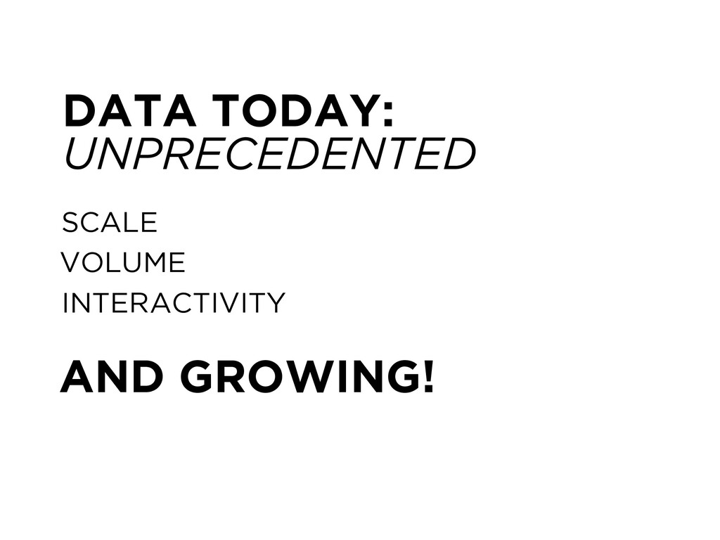 SCALE VOLUME INTERACTIVITY AND GROWING! DATA TO...