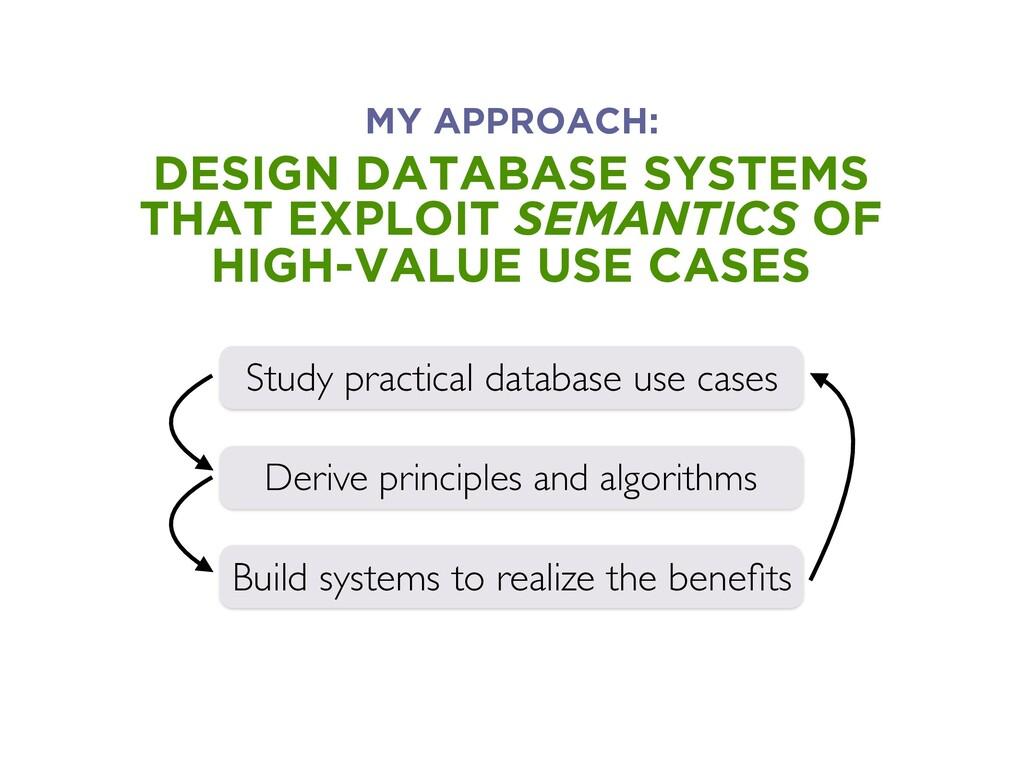 DESIGN DATABASE SYSTEMS THAT EXPLOIT SEMANTICS ...