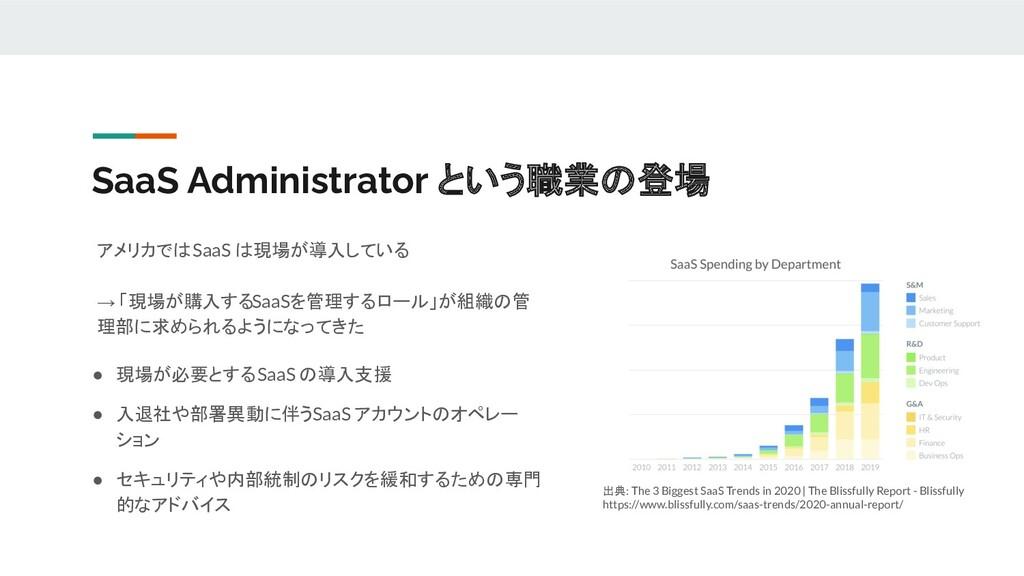 SaaS Administrator という職業の登場 アメリカでは SaaS は現場が導入し...