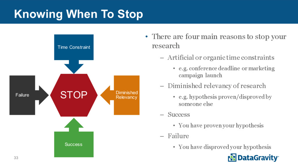 33 Knowing When To Stop • There are four main r...
