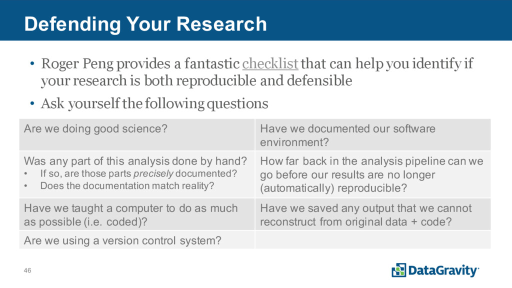 46 Defending Your Research • Roger Peng provide...