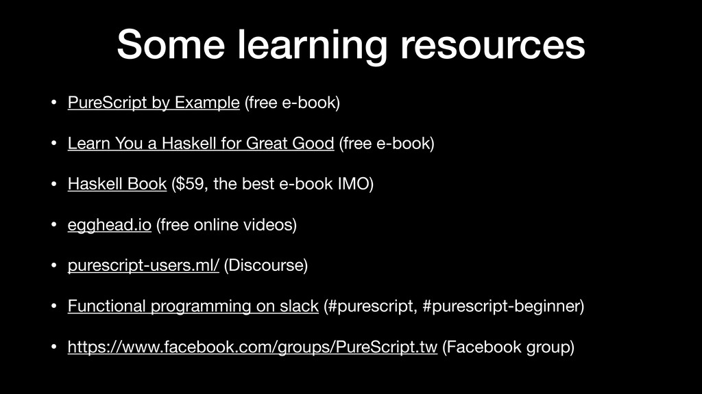 Some learning resources • PureScript by Example...