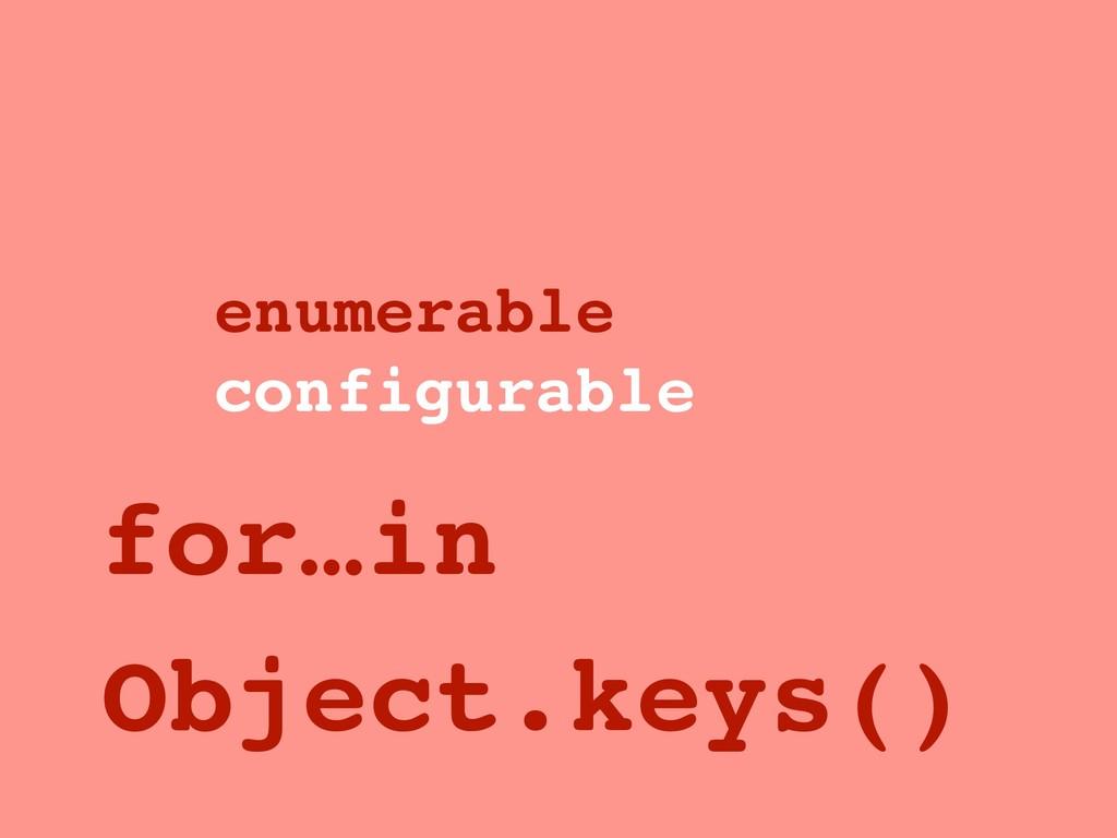 enumerable configurable for…in Object.keys()