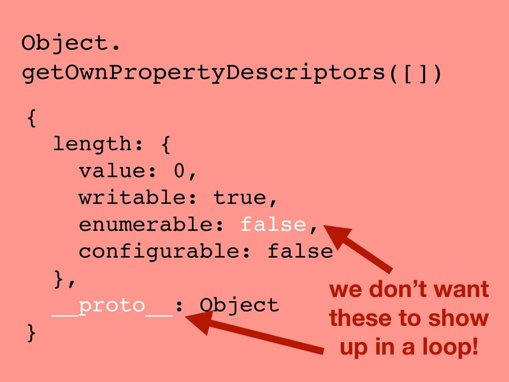 Object. getOwnPropertyDescriptors([]) { length:...