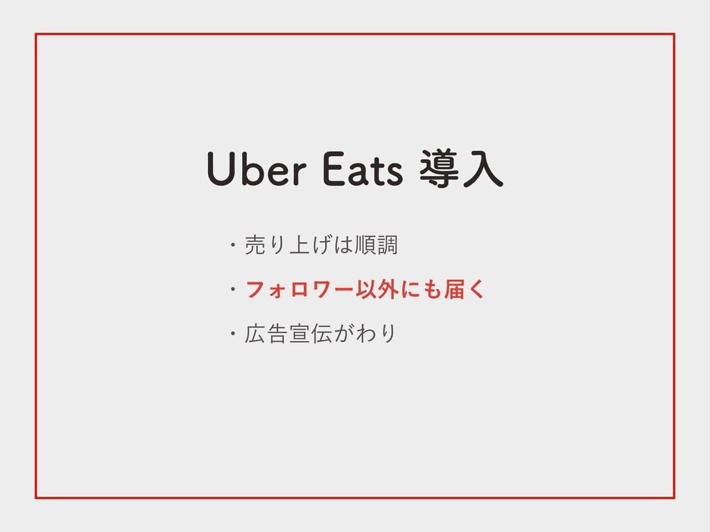 Uber Eats 導入 ・売り上げは順調 ・フォロワー以外にも届く ・広告宣伝がわり