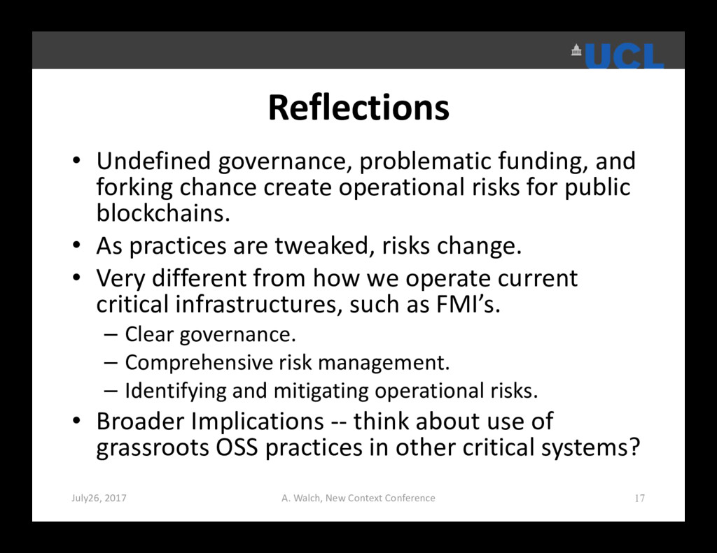 Reflections • Undefined governance, problematic...