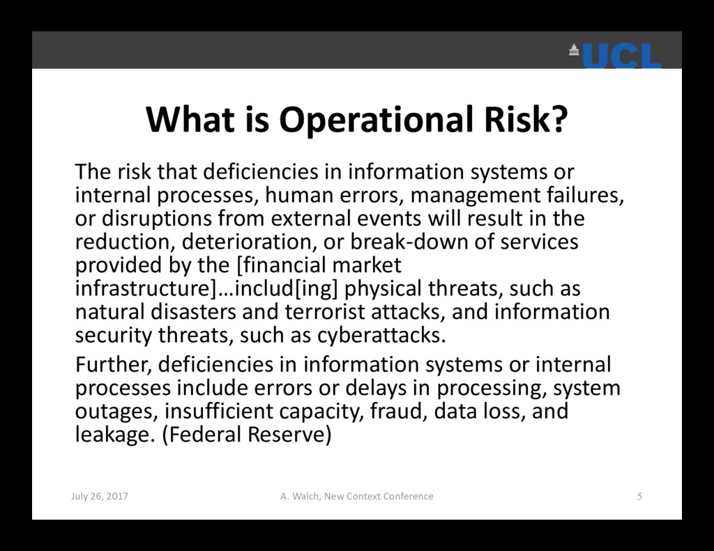 What is Operational Risk? The risk that deficie...