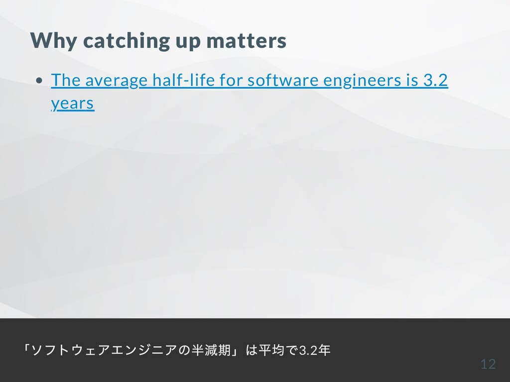 Why catching up matters The average half-life f...