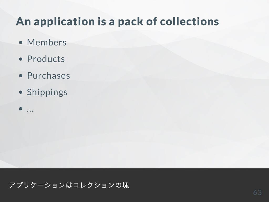 An application is a pack of collections Members...