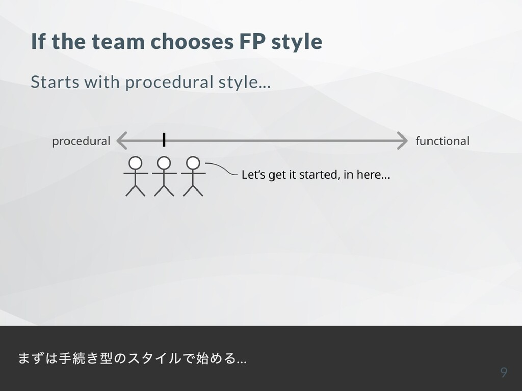 If the team chooses FP style Starts with proced...