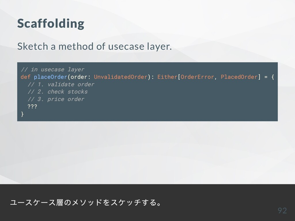 Scaffolding Sketch a method of usecase layer. /...