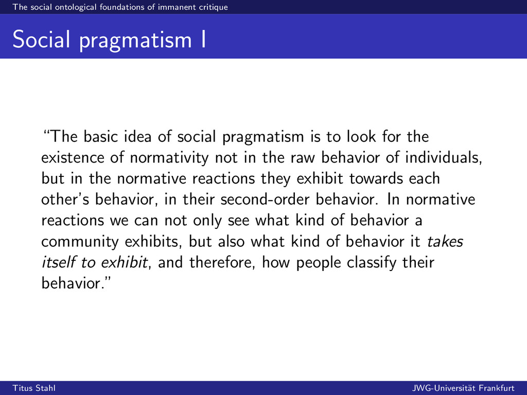 The social ontological foundations of immanent ...