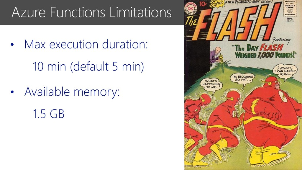 Azure Functions Limitations • Max execution dur...