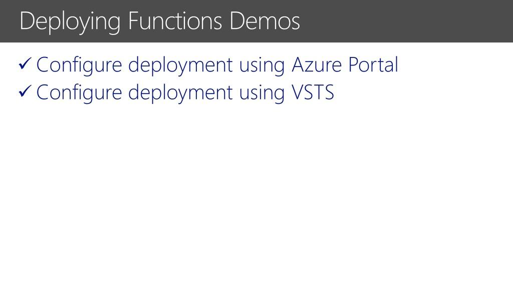 ✓ Configure deployment using Azure Portal ✓ Con...