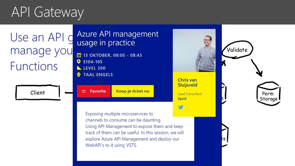 Use an API gateway to manage your Functions API...