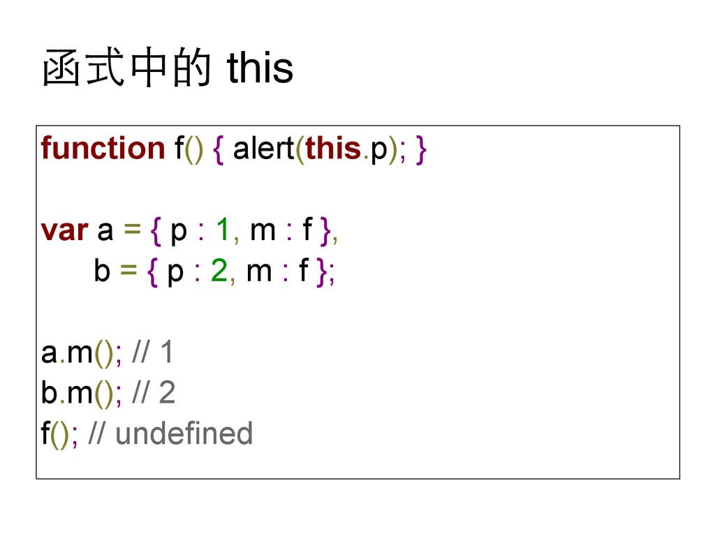 函式中的 this function f() { alert(this.p); } var a...