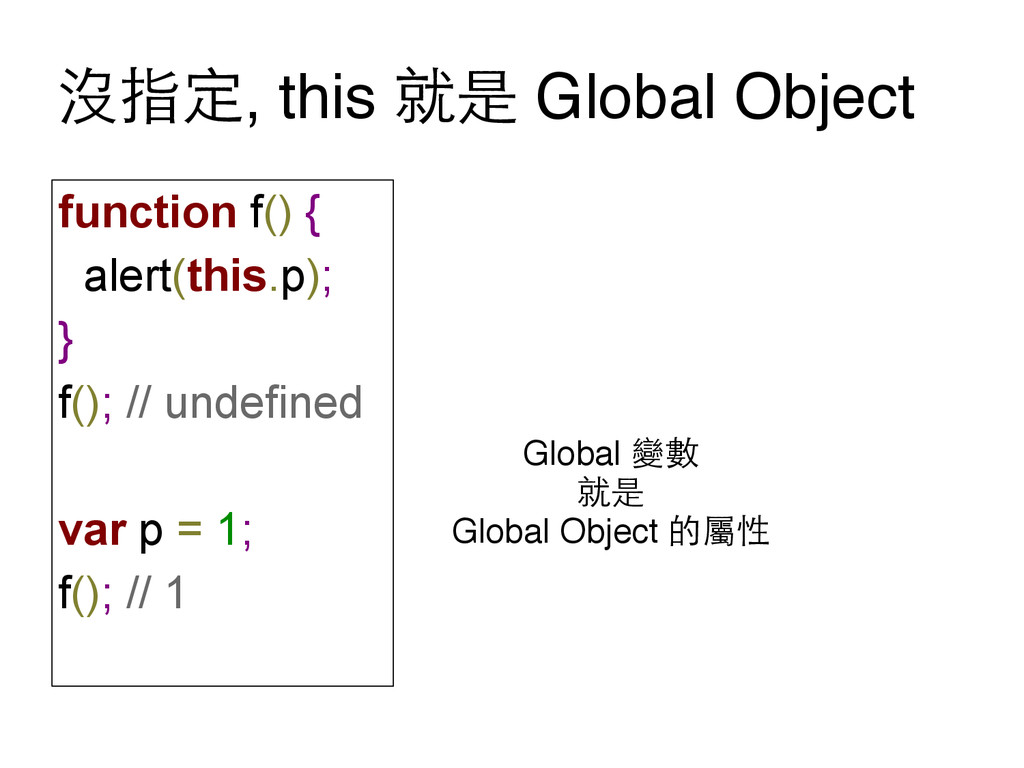沒指定, this 就是 Global Object function f() { alert...