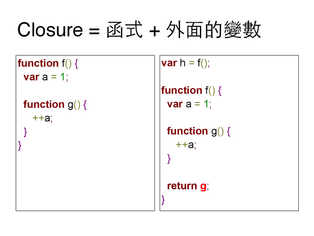 Closure = 函式 + 外⾯面的變數 function f() { var a = 1;...