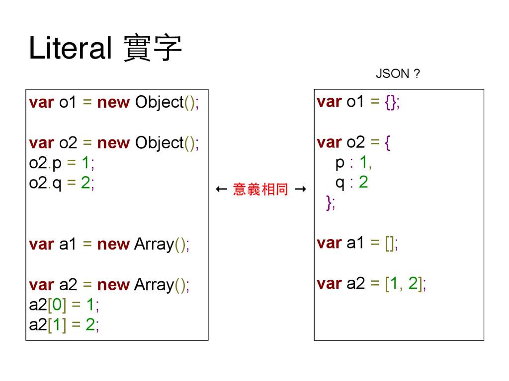 Literal 實字 var o1 = new Object(); var o2 = new ...