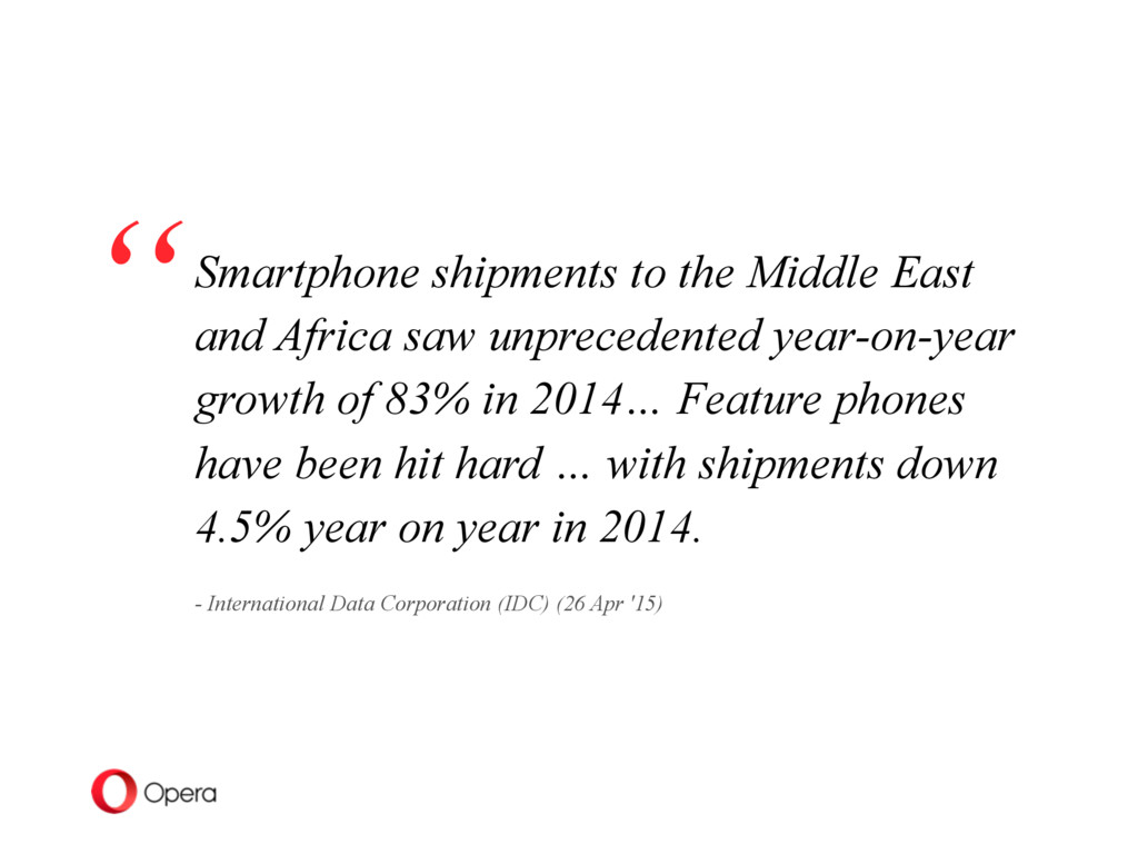 Smartphone shipments to the Middle East and Afr...