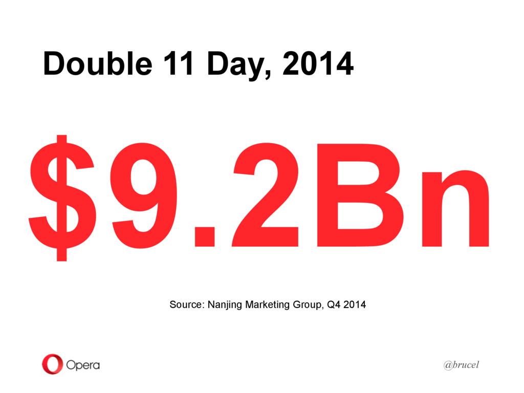 Double 11 Day, 2014 @brucel $9.2Bn Source: Nanj...