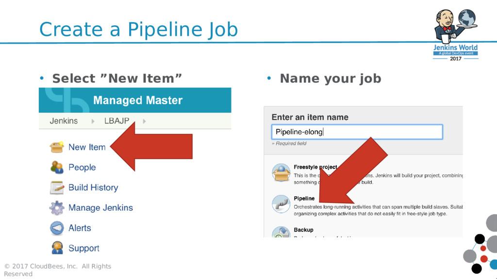 Create a Pipeline Job © 2017 CloudBees, Inc. Al...