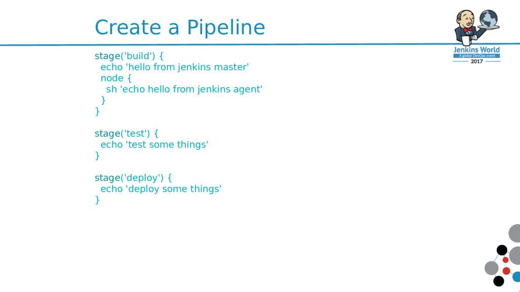 Create a Pipeline stage('build') { echo 'hello ...