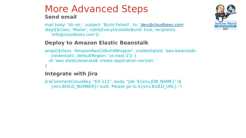 More Advanced Steps Send email mail body: 'Uh o...