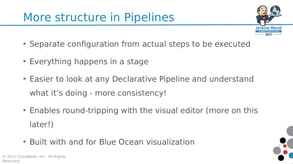 More structure in Pipelines • Separate configur...