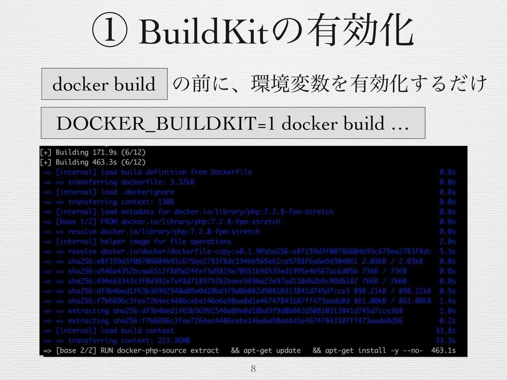 ͷલʹɺڥมΛ༗ޮԽ͢Δ͚ͩ 8 ᶃ BuildKitͷ༗ޮԽ docker build ...