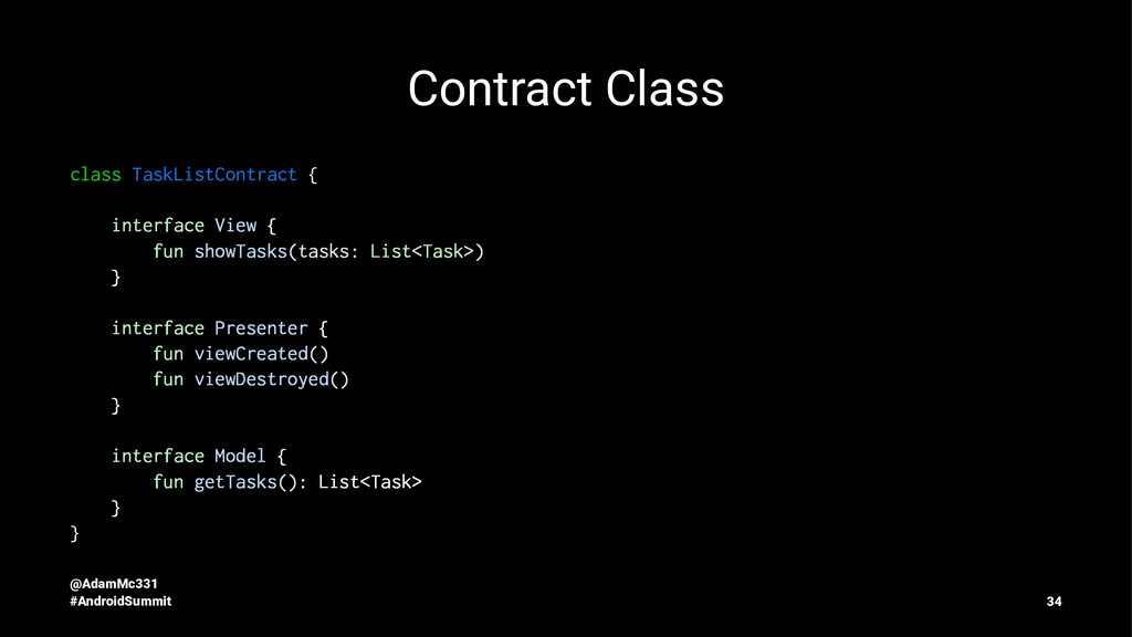 Contract Class class TaskListContract { interfa...
