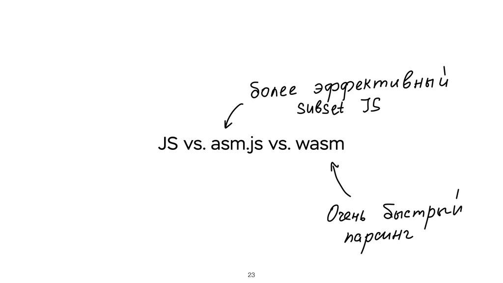 23 JS vs. asm.js vs. wasm