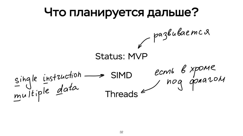 32 Что планируется дальше? Status: MVP SIMD Thr...