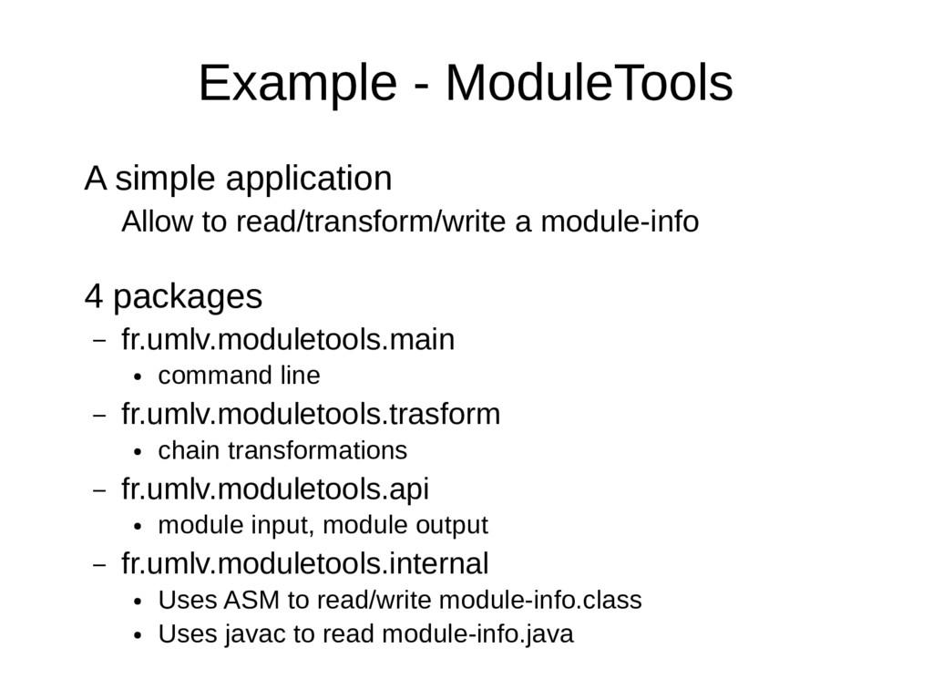Example - ModuleTools A simple application Allo...