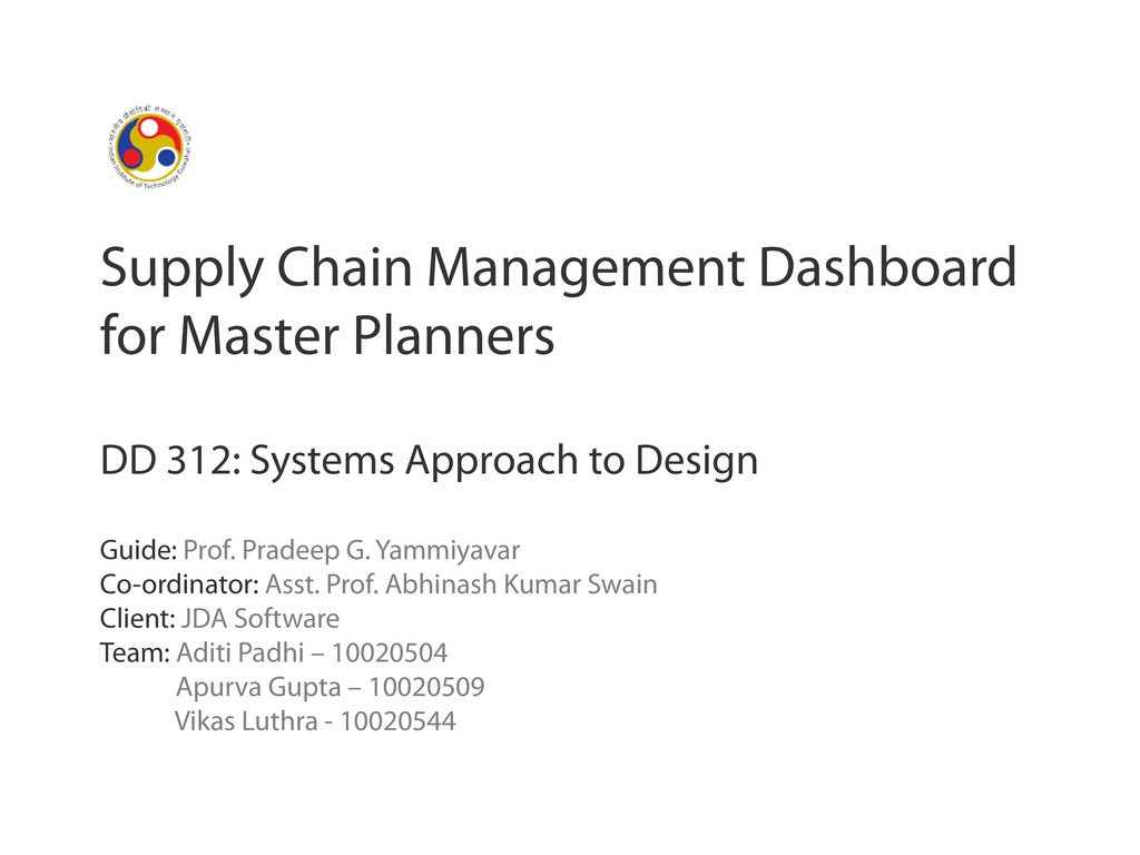 Supply Chain Management Dashboard for Master Pl...