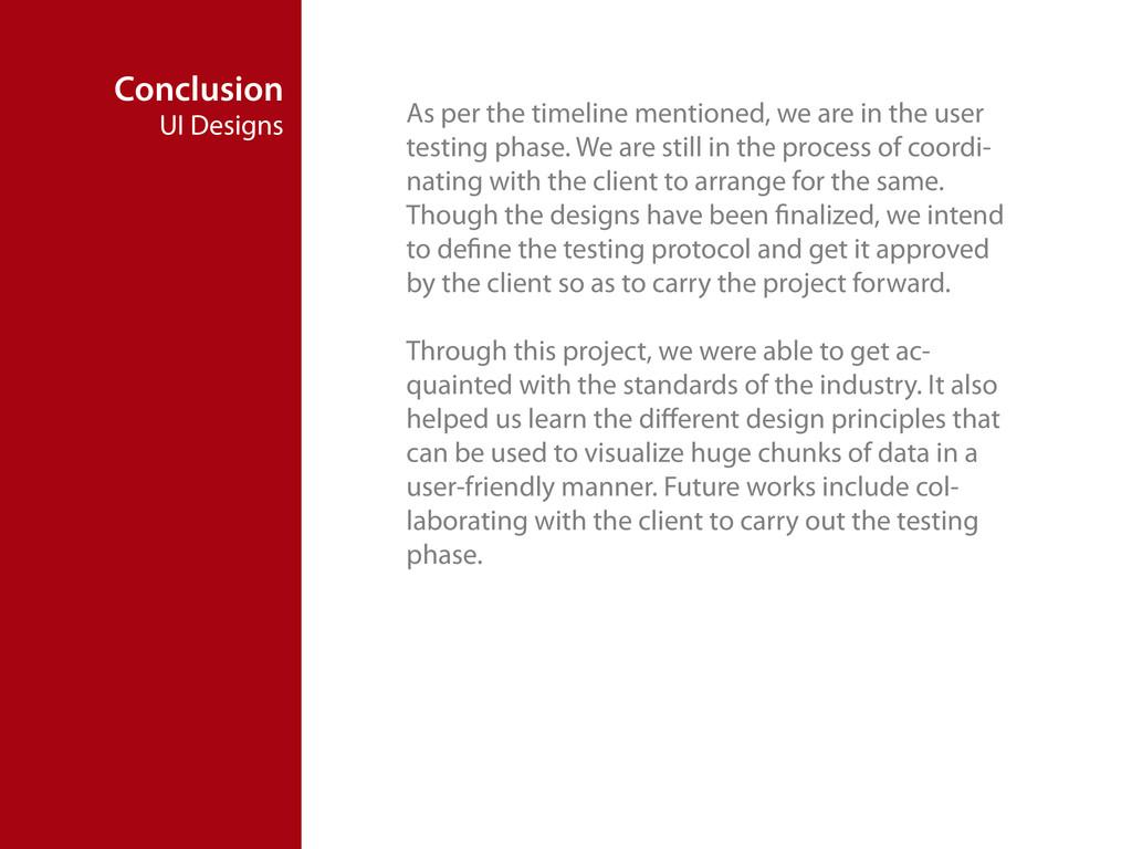 Conclusion UI Designs As per the timeline menti...