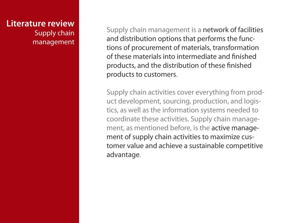 Literature review Supply chain management Suppl...