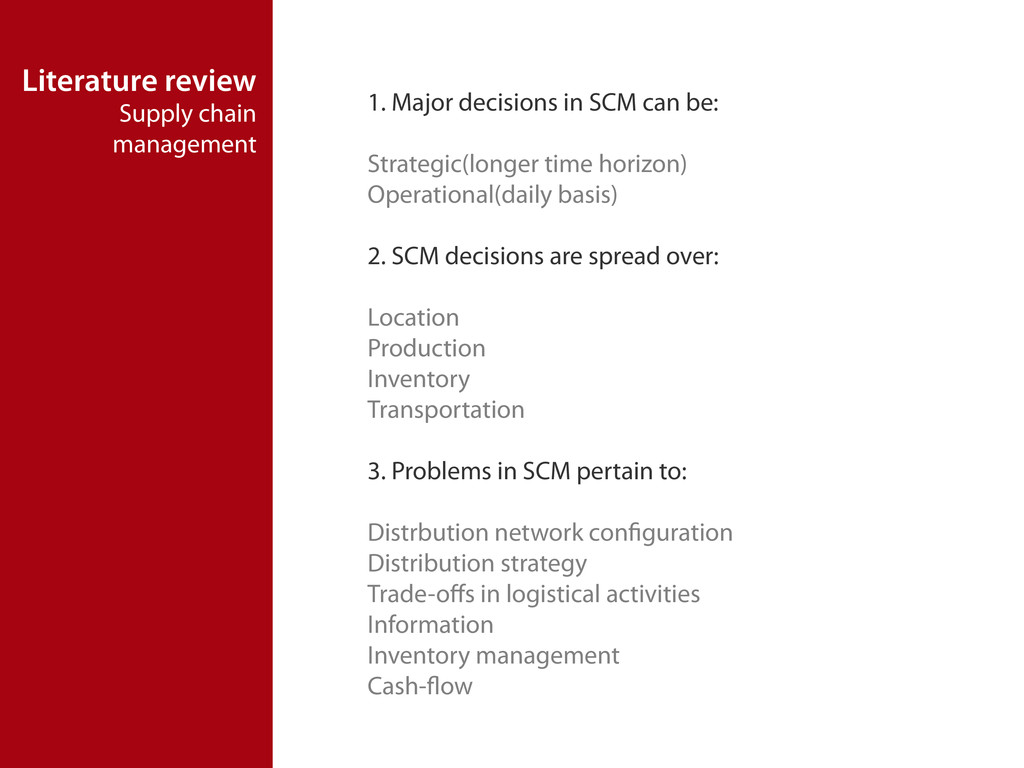 Literature review Supply chain management 1. Ma...